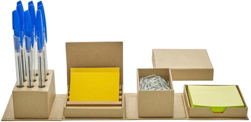 Kub i kartong som vecklas ut till smart skrivbordsorganisatör.