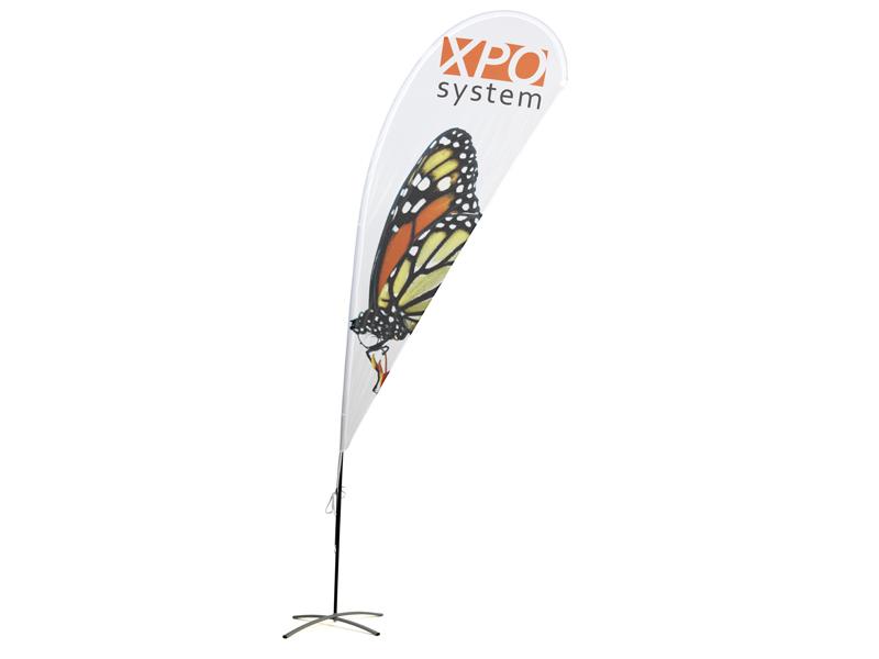 Beachflagga Droppe dubbelsidigt tryck (XS) (Specialproduktion)