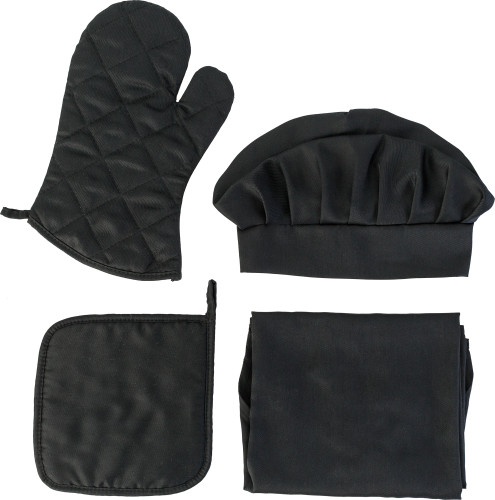 TC fabric kitchen set, consisting of a chef hat (approx. 18 x 18 x 15 cm), a padded oven glove (approx. 31 x 19 cm), a padded potholder (approx. 21 x 21 cm) and an apron (approx. 65 x 81 cm) with two ties on the sides and a neck cord (approx. 2.5 x 56 cm)