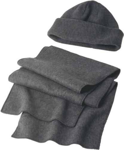 Set i fleece med mössa och halsduk
