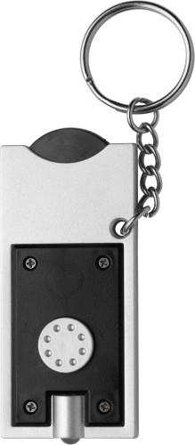 Nyckelring med LED & mynt (€ 0.50)
