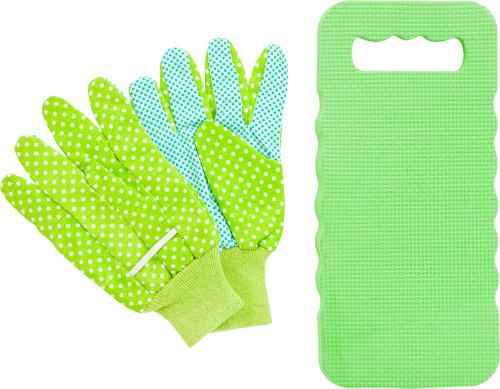 Trädgårdsset med handskar och knäskydd