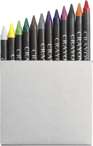 Cardboard box with crayons