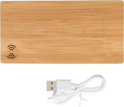 Bambus powercharger og trådløs oplader 6000 mAh