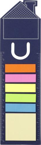 Bokmärke i form av hus med notislappar