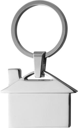 Nyckelring i metall i form av hus
