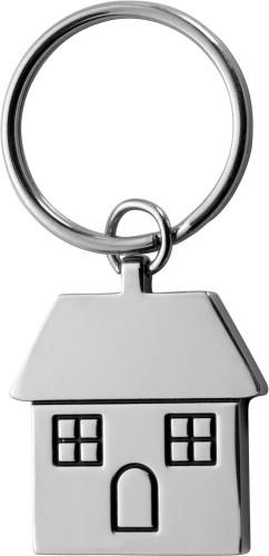 Nøkkelring i metall i form av hus