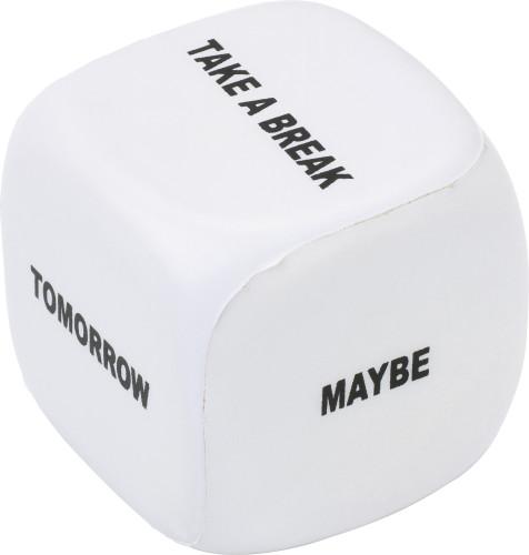 PU foam dice with text