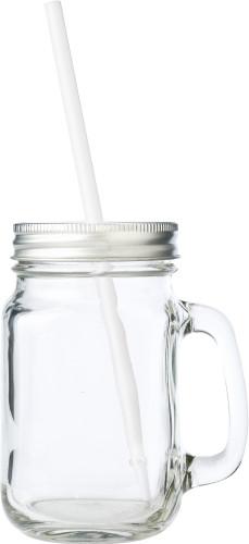Glasskrukke med håndtak og skrulokk