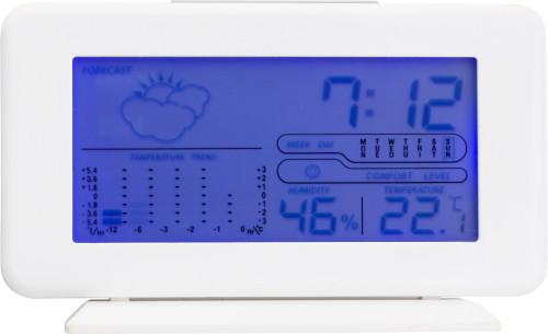 Digital værstasjon med klokke