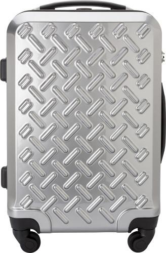 Silverfärgad kabinväska i PC/ABS med fyra hjul