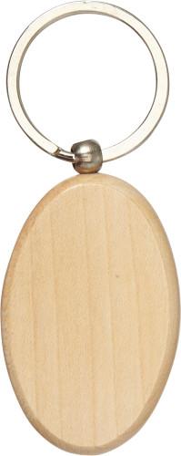Oval nyckelring i trä