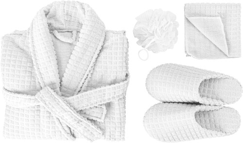 Spa-set i textil med våfflad struktur