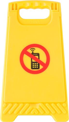 Varningsskylt 'mobilfritt' med spegel på insidan