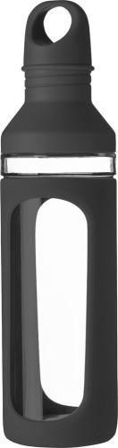 Vattenflaska i glas med silikon (590 ml)