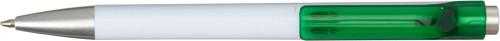 Hvit kulepenn med farget transparent clip