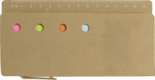 Cardboard memo holder with ruler
