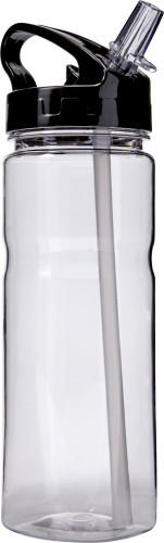 Transparent vattenflaska med sugrör
