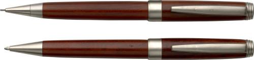 Pennset i rosenträ med kulspets- och stiftpenna