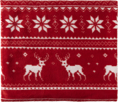 Polar fleece blanket (180 gr/m2), made of 100% polyester. The blanket is printed with a pattern of reindeer. Bound with polyester strap.  Size: 120 x 150 cm